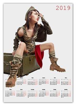 """Календарь А2 """"Милитари 1"""" - арт, девушка, новый год, 23 февраля, минимализм"""