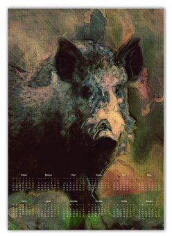 "Календарь А2 ""Символ 2019 года Кабан"" - кабан, символ года, свинья, календарь, 2019"