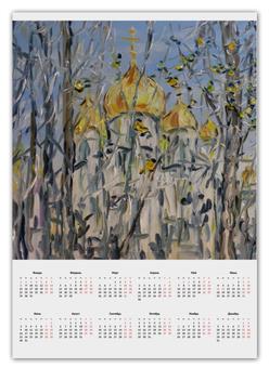 """Календарь А2 """"Рождество"""" - рождество, церковь, синички, храм"""