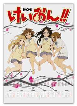 "Календарь А2 ""K-ON Аниме"" - девочки, аниме, k-on, wax, звёзды аниме"