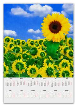 """Календарь А2 """"Подсолнух"""" - лето, цветок, небо, облака, подсолнух"""