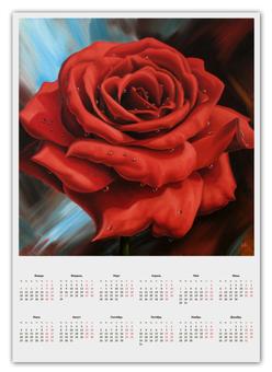 """Календарь А2 """"Красная роза"""" - red, роза, красная роза"""