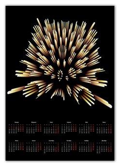 """Календарь А2 """"Квадратура"""" - новый год, абстракция, кристалл, digital art, спектр"""