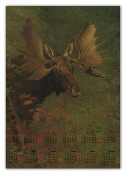 """Календарь А2 """"Лось (Study of a moose) (Альберт Бирштадт)"""" - картина, бирштадт"""