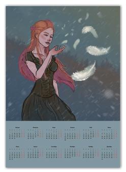 "Календарь А2 ""Перышко"" - девушка, снег, рыжая, ветер, перышко"