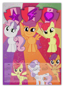 "Календарь А2 ""Cutie Mark Crusaders Color Line"" - magic, applebloom, sweetie belle, scootaloo, friendship"