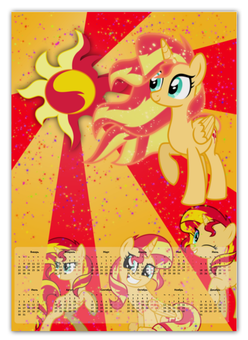 "Календарь А2 ""Sunset Shimmer Color Line"" - magic, cutiemark, friendship, sunset shimmer"