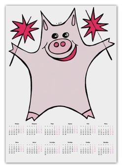 """Календарь А2 """"Розовый поросёнок с бенгальскими огнями"""" - арт, счастье, свин, розовый поросенок, бенгальский огонь"""