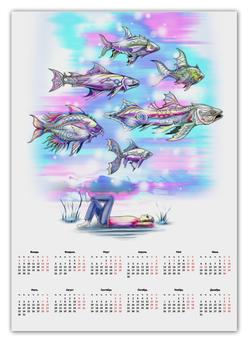 """Календарь А2 """"Underwater"""" - подводный мир, рыбы, фэнтези, фантазия, волшебный мир"""