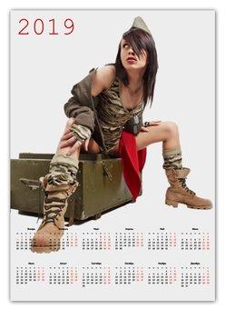 """Календарь А2 """"Милитари 2"""" - арт, девушка, новый год, 23 февраля, минимализм"""