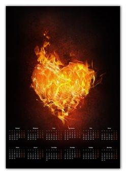 """Календарь А2 """"Огненное сердце"""" - сердце, любовь, огонь, страсть, чувства"""
