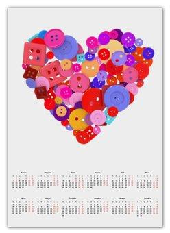 """Календарь А2 """"День всех влюбленных"""" - любовь, день святого валентина, валентинка, i love you, день влюбленных"""