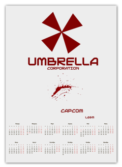 "Календарь А2 ""Umbrella Corporation"" - resident evil, re, umbrella, игра, геймер"