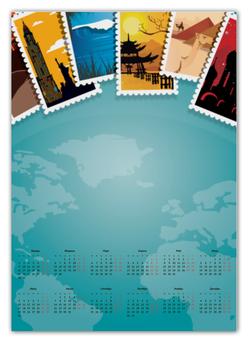 """Календарь А2 """"Международный"""" - рисунок, страны, города, международный, почтовая марка"""