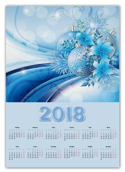 """Календарь А2 """"Новогодний"""" - новый год, шары, цветы"""