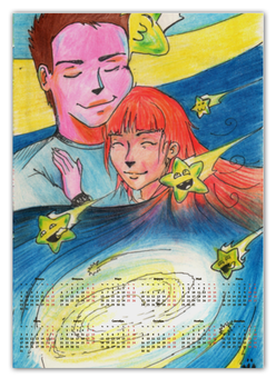 "Календарь А2 ""Объятия Звёздочки"" - любовь, звёзды, объятия, а звёзды падали, leshiystudio"