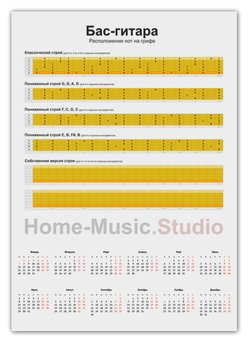 """Календарь А2 """"Бас-гитара: расположение нот на грифе"""" - ноты, бас, бас-гитара, табулатура, ноты на грифе"""