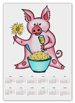 """Календарь А2 """"Год свиньи"""" - новый год, поросенок, свин, год свиньи, хрюн"""