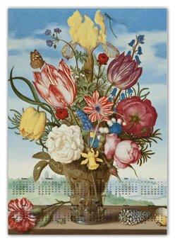"""Календарь А2 """"Букет цветов на полке (Амброзиус Босхарт)"""" - цветы, картина, живопись, натюрморт, босхарт"""
