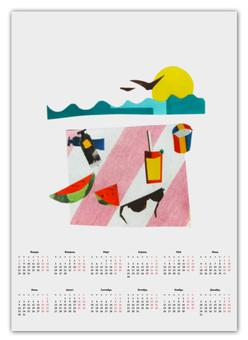 """Календарь А2 """"Отпуск"""" - лето, фрукты, солнце, море, пляж"""