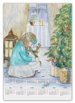 """Календарь А2 """"Новогодний сюрприз """" - зима, собака, новыйгод, корги"""