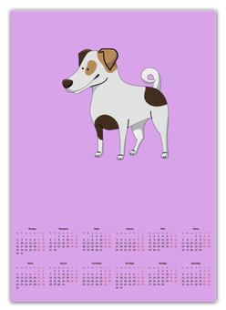 """Календарь А2 """"ДЖЕК РАССЕЛ.СОБАКА"""" - майкл джексон, щенок, собака, животное, рассел"""