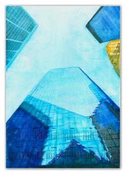 """Календарь А2 """"Небоскребы I"""" - город, нью йорк, небоскребы, небо, синий"""