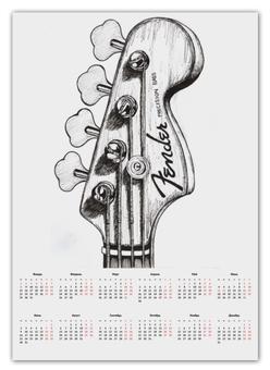 """Календарь А2 """"Bass Guitar"""" - music, metal, день рождения, bass guitar, rock"""