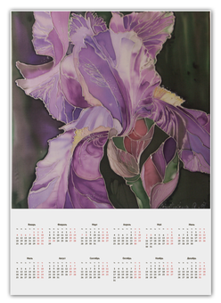 """Календарь А2 """"Прекрасный Ирис"""" - цветы, авторская работа, ирис, батик"""