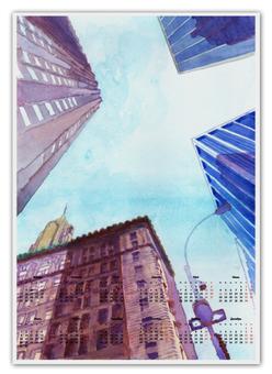 """Календарь А2 """"Небоскребы II"""" - город, нью йорк, небоскребы, небо, улица"""