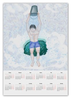 """Календарь А2 """"Обливание ледяной водой"""" - зима, крещение, здоровый образ жизни, обливание ледяной водой, прорубь"""