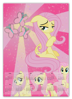"Календарь А2 ""Fluttershy Color Line"" - magic, fluttershy, cutiemark, friendship"