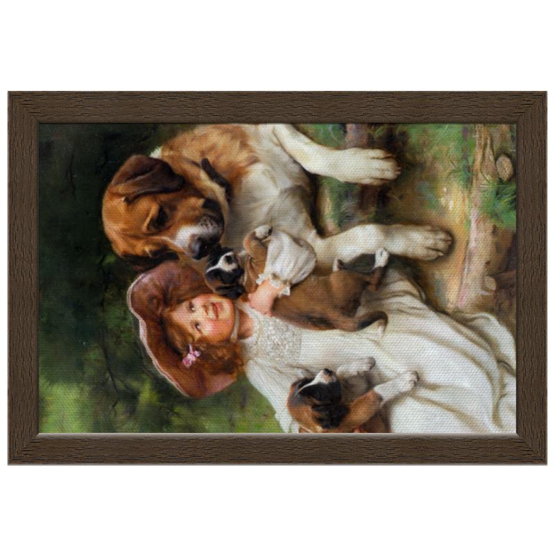 Холст 20х30 Printio Девочка, собака и щенята