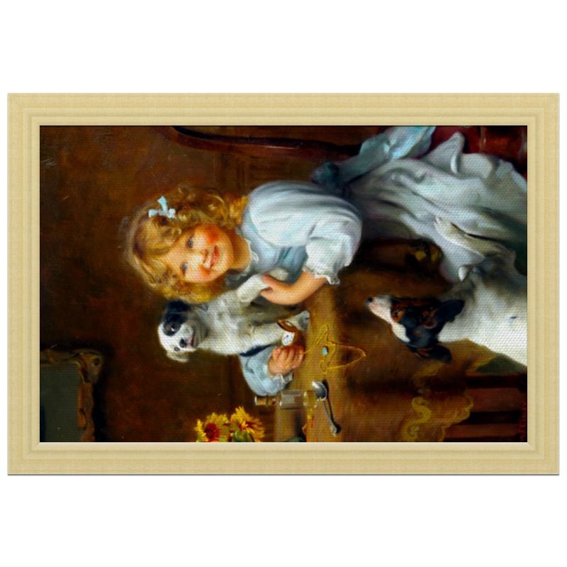 где купить Холст 20х30 Printio Девочка с собакой и щенком по лучшей цене