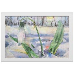 """Холст 20х30 """"Подснежник"""" - цветок, весна, нежный, картина акварелью, первые весенние цветы"""