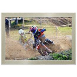 "Холст 20х30 ""Только вперед!"" - мотоцикл, песок, мотокросс, motocross, эндуро"