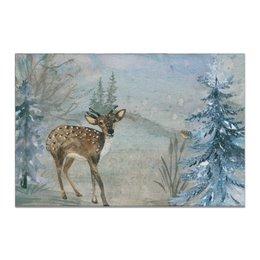 """Холст 20х30 """"Лесные жители"""" - картина, олень, птица"""