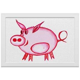 """Холст 20х30 """"Розовый поросенок"""" - арт, счастье, малыш, свин, розовый поросенок"""