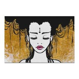 """Холст 20х30 """"Golden (vol.2)"""" - любовь, девушка, рисунок, золотой, релакс"""