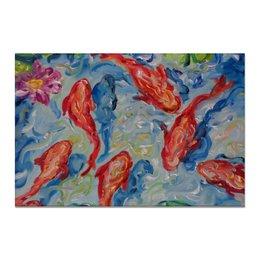 """Холст 20х30 """"Золотые рыбки"""" - картина для дома, картина на стену дешево, недорогой подарок в дом, картина для интерьера за 1000 руб, красивый рыбы"""