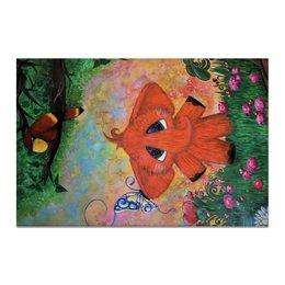 """Холст 20х30 """"Слоник"""" - бабочка, цветы, слон, попугай, сказка"""
