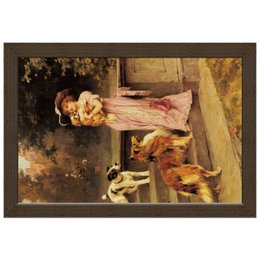 "Холст 20х30 ""Девушка с собаками"" - девушка, новый год, картина, собака, артур вардль"
