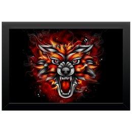 """Холст 20х30 """"Wolf & Fire"""" - огонь, волк, fire, wolf, дым"""