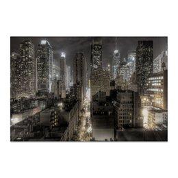 """Холст 20х30 """"Deep Night"""" - дорога, город, ночь, огни, мегаполис"""