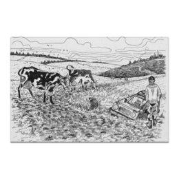 "Холст 20х30 ""Чем круче джип, тем дальше идти за трактором."" - пейзаж, корова, джипер, трактор, нива"
