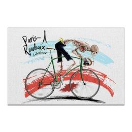 "Холст 20х30 ""Paris-Roubaix"" - череп, спорт, велосипед, велогонки, велоспорт"