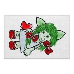 """Холст 20х30 """"Девочка-тролль с сердечком"""" - день святого валентина, подарок, дар, день влюбленных, тролли"""