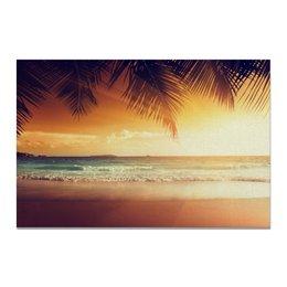 """Холст 20х30 """"Песчаный пляж"""" - море, пляж, остров, песок, пальмы"""