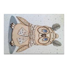 "Холст 20х30 ""Совушка"" - бежевый, птица, иллюстрация, перья, снежный"