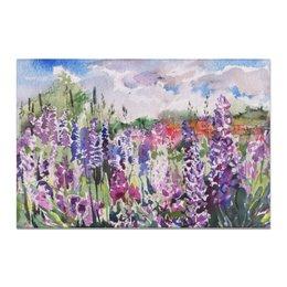 "Холст 20х30 ""Lupines field"" - пейзаж, акварель, поле, watercolor, люпины"